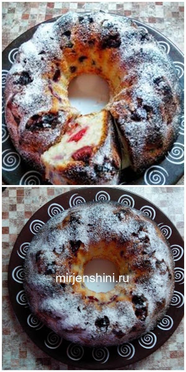 Кекс творожный с вишней как ПУХ (Готовлю каждую неделю). На второй день еще вкуснее!